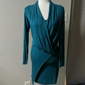 Teal Body Con Jersey Dress